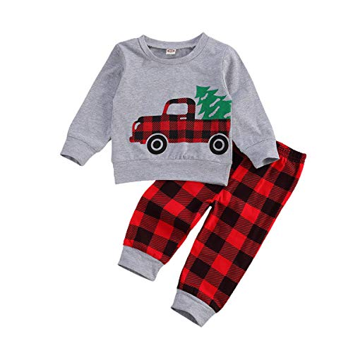 Toddler Baby Boy Girl Christmas Outfits Santa Claus Deer Top Pullover Striped Pants Pajamas Xmas Clothes Set (Car, 6-12 Months)
