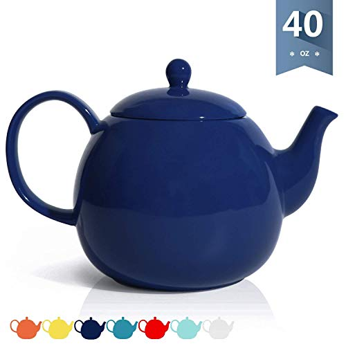 Sweese 220103 Porcelain Teapot 40 Ounce Tea Pot  Large Enough for 5 Cups Navy