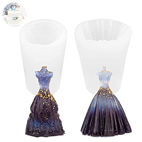 Molde en Forma de Vestido de Novia Molde para Velas Silicona 3D Para Aromaterapia Fabricación de Velas Jabón Manualidades Decoración Moldes de Velas para Hacer a Mano para Decoración Artesanal 2 Piezs