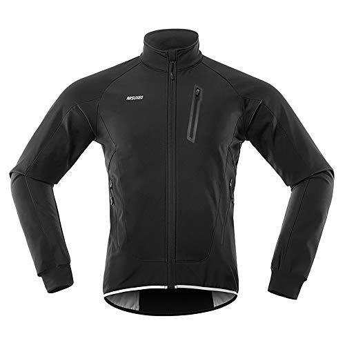MioYOOW - Giacca da ciclismo da uomo, invernale, termica, antivento, impermeabile, con cinghie riflettenti
