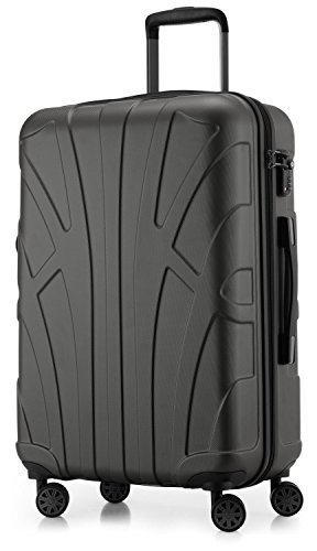 Suitline Hartschalen-Koffer Koffer Trolley Rollkoffer Reisekoffer, TSA, 66 cm, ca. 58 Liter, 100% ABS Matt, Graphite/Grau