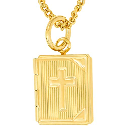 Lifetime Jewelry Bible Locket Necklace That Holds Pictures with 20X More 24k Plating Than Other Photo Lockets - Religious Charm Necklace for Women and Men