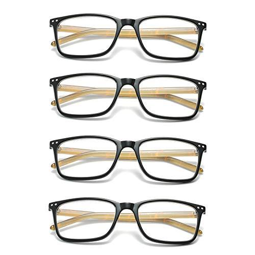 L-LIPENG - Juego de 4 gafas de lectura con filtro UV transparente, lentes portátiles, ultraligeras y antirayos UV, bloqueo de luz azul, 3,50