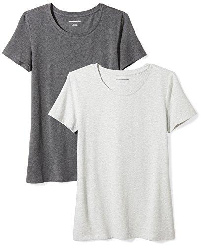 Amazon Essentials Damen-T-Shirt, klassisch, kurzärmlig, Rundhalsausschnitt, 2er-Pack, Grau (Charcoal Heather/Light Grey Heather), Small