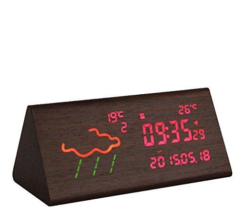 WilabudaSmart Wetter Wecker WLAN Wecker Creative Voice Control elektronische Uhr, trigonometrische Nussbaum Farb-LED