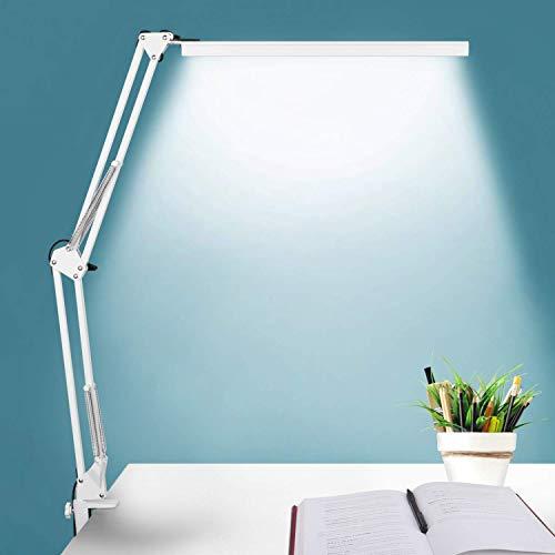 LED-Schreibtischlampe, BZBRLZ-Metallschwenkarmlampe, Eye-Caring Architect Task-Lampe, dimmbare Bürotischlampe mit 3 Farbmodi, 10 Helligkeitsstufen und Adapter, Speicherfunktion, 10W