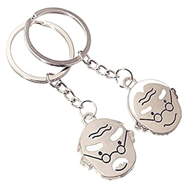 BR Love Keychains Key Chain Fob Holder Ring - Set of 2 Romantic for Couples Lovers Friendship