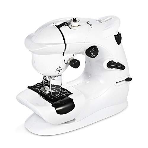 Decdeal Mini Máquina de Coser Portátil Multifunción Control de Pie de Costura Inversa de 2 Velocidades para Principiantes Niños DIY Decoración del Hogar