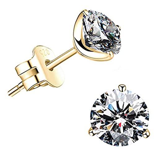 1 par de pendientes de diamantes simulados de corte chapado en oro, pendientes redondos de circonita...
