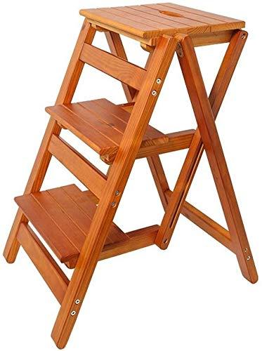 DY kruk van massief hout – opvouwbare kruk – opvouwbare boekenkast – kruk – multifunctionele kruk van hout voor de keuken, met een bureau met ladder