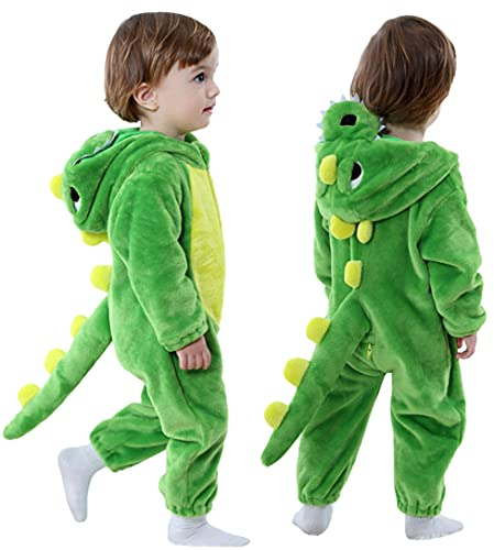 Toddler Infant Dinosaur Costume Flannel Hooded Onesies Soft Animal Romper Outfits Gift (12-17month, Green)