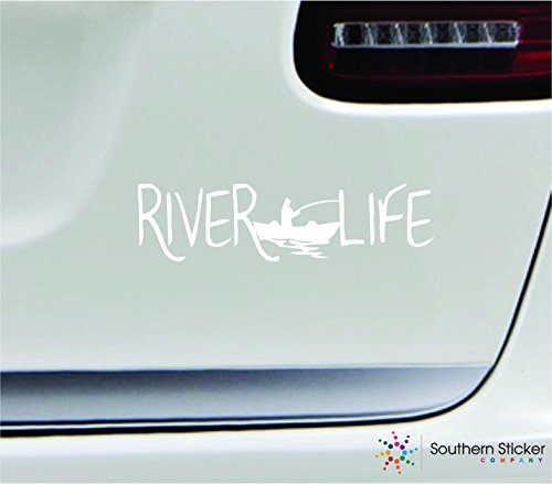 River Life Fishing Boat 7x1.8 White Fishing Hook Outdoors Lake Fish Pond United States America Color Sticker State Decal Vinyl - Made and Shipped in USA