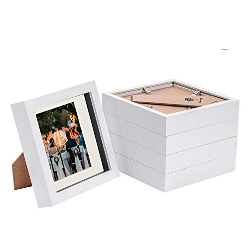 Nicola Spring 5 Piece 6 x 6 3D Shadow Box Photo Frame Set - Craft Display Picture Frame with 4 x 4 Mount - Glass Aperture - White/Ivory