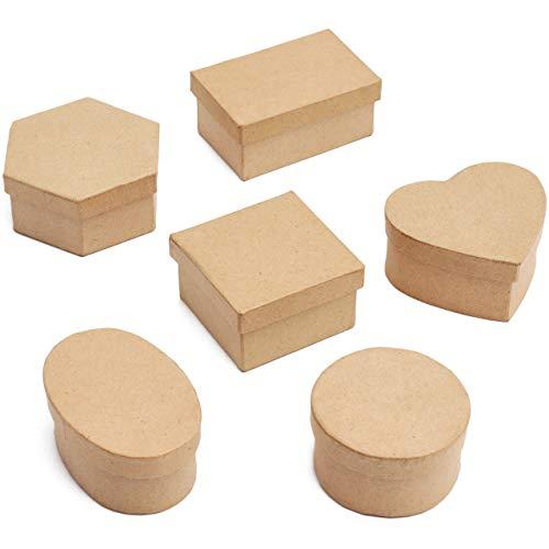 Mini Paper Mache Boxes with Lids (6 Shapes, Kraft Color, 6 Pack)