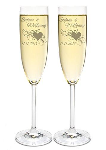 LEONARDO 2 Sektgläser mit Gravur des Namens zur Hochzeit Motiv Herz Sekt-Glas graviert Geschenkidee