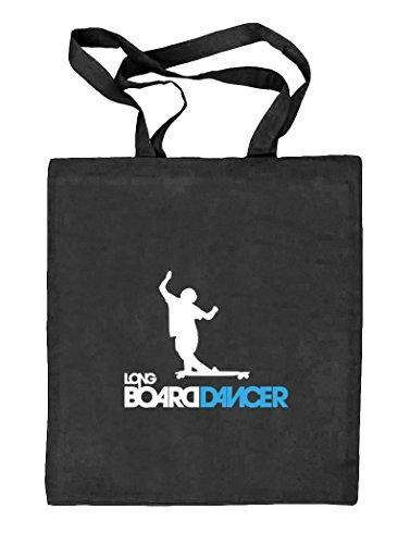 Longboard Dancer, Skateboard Natur Stoffbeutel Jute Tasche (ONE SIZE), Größe: onesize,schwarz natur