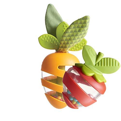 Tiny Love Sonagli con Bastone della Pioggia, massaggiagengive e foglie fruscianti, set composto da 2 elementi: Carota e Fragola, Arancione/Rosso