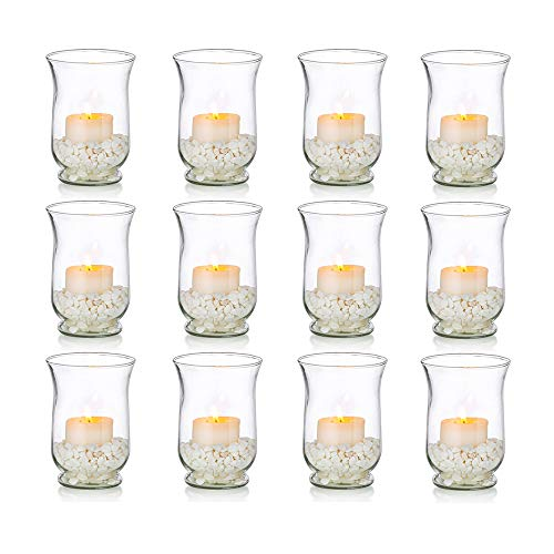 Glass Votive Candle Holders, 12 Pcs Pillar Candle Holder Bulk for 2 x 4 Inches Candles, Floating Candle Holders, Wedding Centerpieces for Birthday, Spa, Aromatherapy, Meditation, Parties