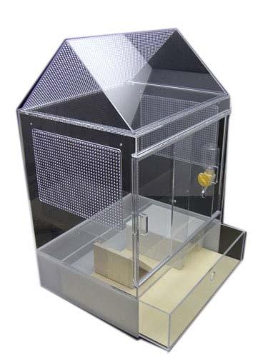 アクリルケージ・ハリネズミ仕様【シンプルお屋根セット】※給水ボトルとステッカーがつきます。