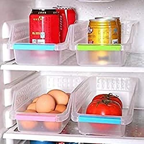 RETROZA Fridge Storage Basket Shelf Organiser Rack Space Saver Food Storage Refrigerator Drawer Fruit Vegetables Storage Basket Organizer Box Containers Tray for Home and Kitchen 4 Pcs