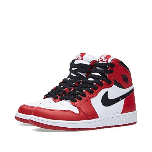 Nike Jungen Air Jordan 1 Retro High OG BG Basketballschuhe, Weiß Schwarz Rot Weiß Schwarz Rot, 37.5 EU