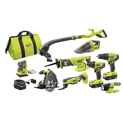 Ryobi P1869 18V ONE+ Lithium-Ion Cordless 9-Tool Combo Kit with (2) Batteries, Charger, and Bag