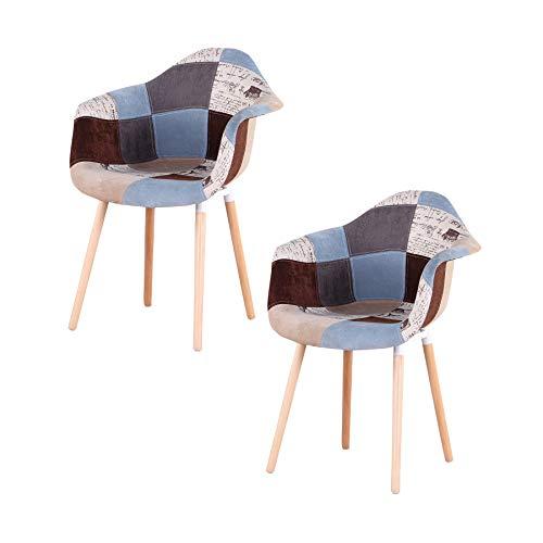 Uderkiny Juego de 2 sillas de Patchwork con reposabrazos, Aplica a la Cocina Sala Comedor, etc. (Mar