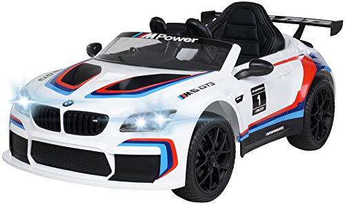 Actionbikes Motors Kinder Elektroauto BMW M6 GT3 - Lizenziert - 2,4 Ghz Fernbedienung - Bluetooth - Softstart - Elektro Auto für Kinder ab 3 Jahre (Weiß)