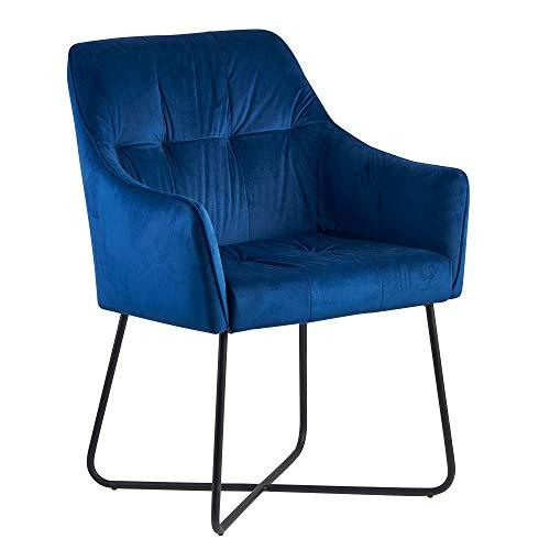 FineBuy Esszimmerstuhl Samt Blau Küchenstuhl mit Schwarzen Beinen | Schalenstuhl Stoff/Metall | Design Polsterstuhl |Stuhl Esszimmer Gepolstert