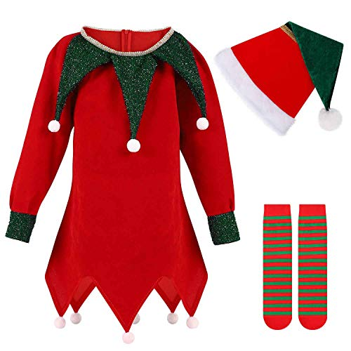 Christmas Elf Costume for Kids Santa's Helper, Halloween Dress Up for Boys/Girls Holiday Clothes with Leggings (Fairy Outfit, 7-12 Year-old)