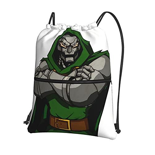 Mf Doom Bolsa de gimnasio con cordón con cremallera interior y bolsillo bolsa impermeable de polietileno para hombres y mujeres, mochila deportiva ligera para la escuela y el gimnasio