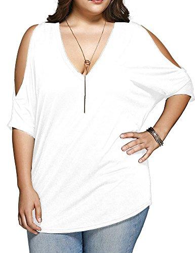 Allegrace Women Plus Size Tops V Neck Short Sleeve Batwing Top Cold Shoulder T Shirt White 3X