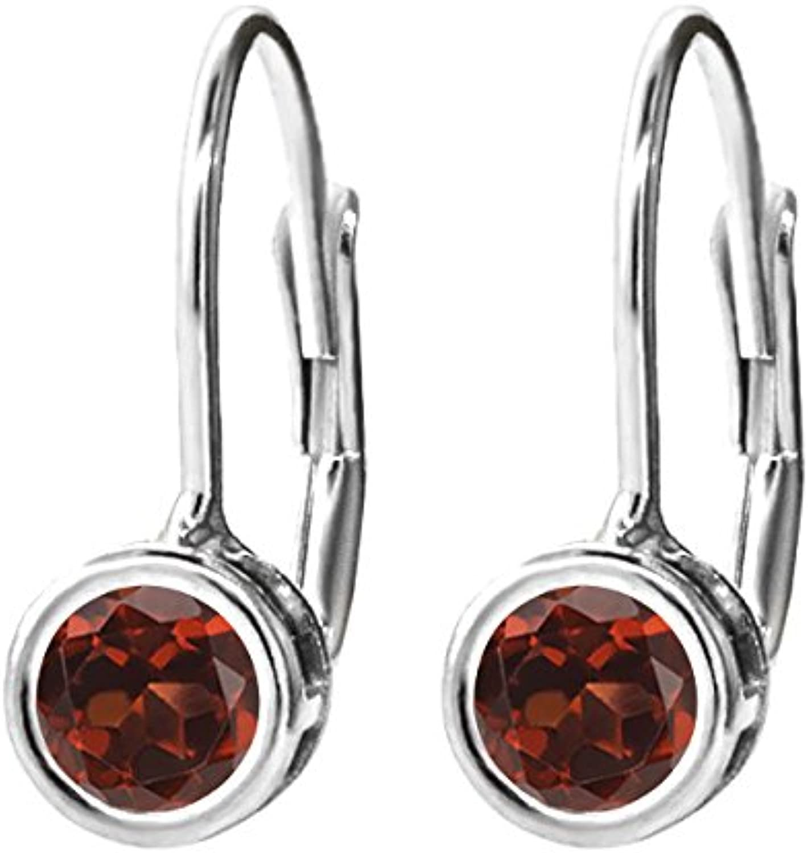 0.74 Ct Round Red Garnet 14K White gold Earrings
