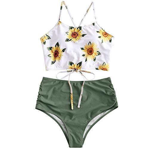 ZAFUL Damen Sonnenblume Tankini Set Hoch Tailliert mit Schn¡§1Rung Gepolsterte Bademode Badeanzug
