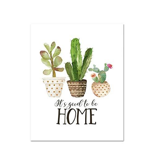 LiMengQi Botanical Cactus Print Home Sweet Home Zeichen Zitat Kunst Malerei Küche Dekor Tee Poster Nordic Wandbild für Wohnzimmer (kein Rahmen)