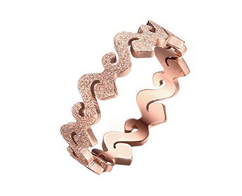 HIJONES Damen Edelstahl Matte Finish 5MM Rose Gold Ring Größe 50