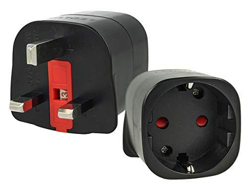 LEDLUX 2 Piezas UK UE Adaptador de Viaje Convertidor de Enchufe alemán Schuko Italiano Europeo a Enchufe inglés Reino Unido GB, Color Negro