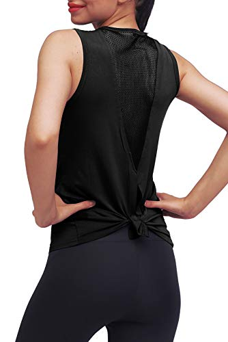 Mippo Damen Cute Yoga Workout Mesh Shirts Active Wear Sexy Open Back Sport Tank Tops - schwarz - X-Groß