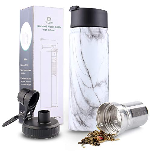 Infuser Travel Mug with Removable Tea Strainer Bottle 18/8 Stainless Steel Insulated Tumbler Marble...