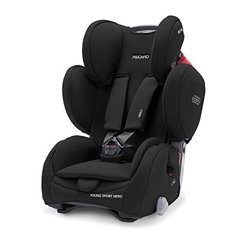 Recaro Kids, Young Sport Hero Kindersitz, Auto Kindersitz (9-36 kg), Gruppe 1-2-3, Komfort und Sicherheit, Universeller Einbau, Verstellbar, Patent Hero Sicherheitssystem, Core Deep Black