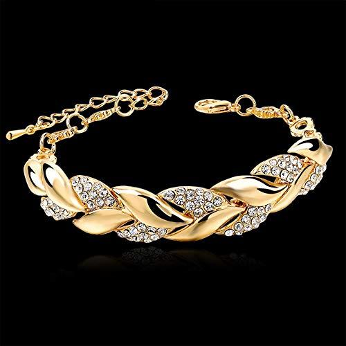 Estilo Bohemio Mujeres Niñas Pulsera De Oro Diamantes De Imitación Hojas Brazalete De Cadena Joyería De Boda De Lujo Moda Simple Elegante Nuevo