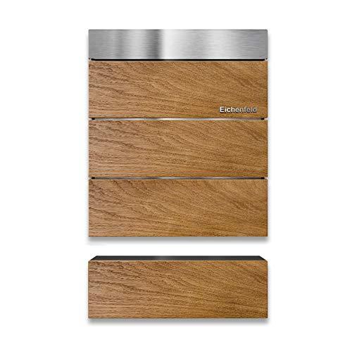 Metzler Briefkasten – aus Echtholz & V2A Edelstahl – Wand-Montage – optionale 3D Beschriftung – massiv & rostfrei – modernes Design (mit Zeitungsfach)