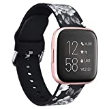 V-MORO Bands Compatible with Fitbit Versa Straps/Versa 2 Bracelet Fashion White Rose Flower Silicone Accessory with Quick Release pins for Fitbit Versa/Versa Lite/Versa 2 Smartwatch