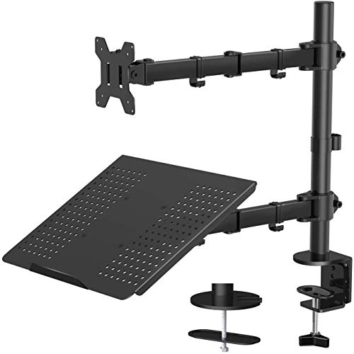 "Laptop Monitor Mount Stand with Keyboard Tray, Adjustable Notebook Desk Mount with Clamp and Grommet Mounting Base for 13 to 27 Inch LCD Computer Screens Up to 22lbs, Notebook up to 15.6"", Black"