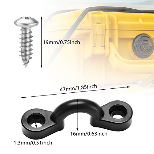 16 Pieces Nylon Bungee Deck Loops Tie Down Eye with 32 Pieces Screws Kayak Replacement Parts for Boat Kayak Deck Rigging