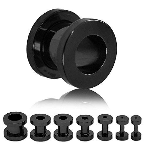 Tumundo® Set 1,6 2 3 4 5 6 8 10 mm Tunnel Tunnelset Piercing Plug Flesh Ohr Edelstahl Schwarz Tunnelstore