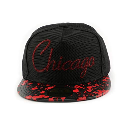 Snapback Hip Hop Chicago Noire et Rouge - Mixte