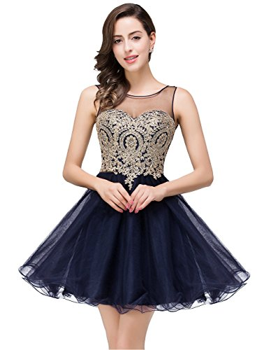 Women's Short Prom Dresses A Line Tulle Dress Evening Party Navy Blue 4