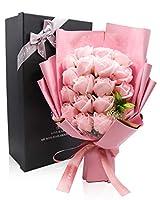 Rorsweet ソープフラワー 誕生日 花 フラワーギフト プレゼント 母の日 女性 結婚祝い 花束 造花 バラ 敬老の日 枯れない花 お見舞い 感謝 開店祝い (ピンク)