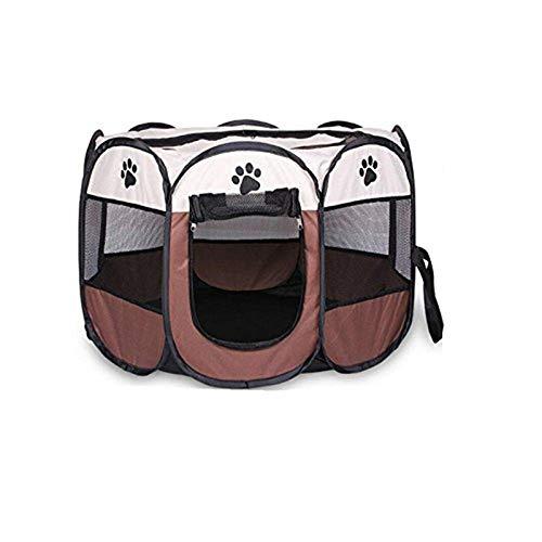 Wiiguda@ Recinzione per Cani Tenda Pop-UP Recinto per Cani Cagnolini Animali Impermeabile Pieghevole da Usare all'Interno e all'Esterno con Sacchetto di Stoccaggio Marrone M 73X73X43 cm